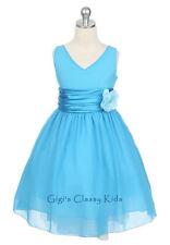 New Turquoise Chiffon Flower Girls Dress Easter Christmas Party Graduation Fancy