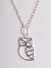 STERLING SILVER 925 CUTE OUTLINE OWL CHARM PENDANT CHAIN NECKLACE 925