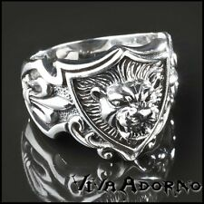 925 Silver Seal Ring Lion 3D Coat of arms Lilies Thumb Ring Biker Lion SR21