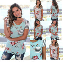 Casual Women Floral Printed Short Sleeve Shirts Loose Tee Blouse Tops T-Shirt