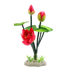 Plastic Lotus Flower Aquarium Fish Tank Decor Aquatic Ornament with Ceramic Base