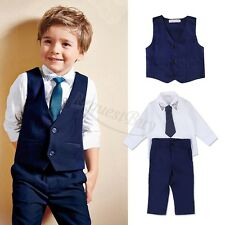 4pcs Kids Baby Boys Waistcoat+Tie+Shirt+Pants Outfits Clothes Gentleman Suit Set