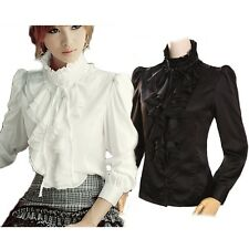 Shirt High Neck Ruffle front Gorgeous Vintage Frilly Blouse Womens Top size 18