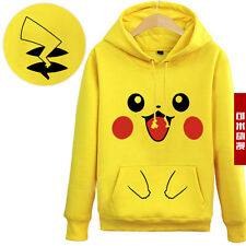 Pokemon Pikachu Ears Zip Hoody Hoodie Sweatshirt cosplay Costume Halloween