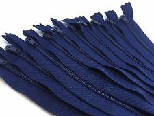 10 x Navy Nylon #3 Autolock Zips - Closed end for sewing & crafts - 16 lengths