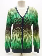 M Missoni Green Brown Yellow Gray Chevron Button Front Cardigan Sweater 10