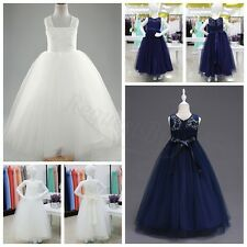 Lace Baby Princess Bridesmaid Flower Girl Bow Dresses Wedding Formal Party 3~14Y