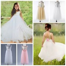 Flower Girl Kid Tutu Dress Sequins Princess Party Wedding Bridesmaid Tulle Gown