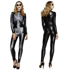 Smiffy's Fever Ladies Miss Whiplash Skeleton Costume Women Halloween Fancy Dress