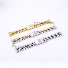 19 20 22mm Two Tone Silver Watch Band Curved End Old Style Jubilee Bracelet