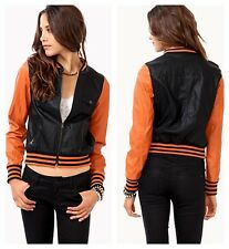 NWT Women Forever 21 color block faux leather varsity style jacket RUNS SMALL!