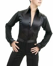 Men's Ballroom Latin Salsa Dance Shirts Tops With Attached Shorts
