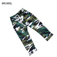 Kids Children Cotton Harem Pants For Baby Boys Camouflage Trousers Blue Green