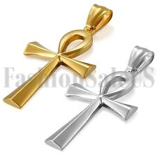Charm Egyptian Ankh Cross Pendant Silver Gold Tone Stainless Steel Necklace Gift