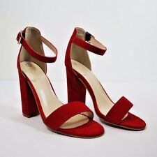 New Womens High Block Heel Sandals Ankle Strap Peep Toe Platform Shoes Sizes RED