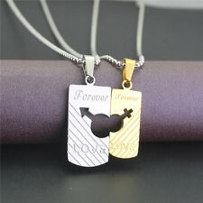 His and Hers Stainless Steel FOREVER LOVE Couple Pendants 2 Part Necklaces