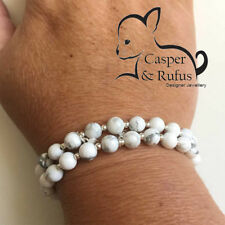 2 Friendship Long Distance Stacking Bracelets Relationship White Howlite Beads