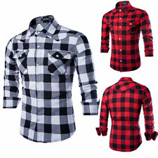 Mens Cotton Casual Shirt Stylish Slim Fit Long Sleeve Casual Dress Shirts Top CZ