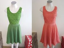 Ladies Ajoy Clothes Lace Bust Flowy Skater Dress Size 8 10 12 14 16 Green Coral