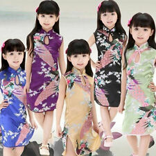 Cute Kids Baby Girls Chinese Qipao Vintage Floral Peacock Cheongsam Mini Dress