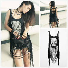 Punk Rave PT-009 Women's Black Gothic Punk Skull Print Ripped Tassel Tank Top