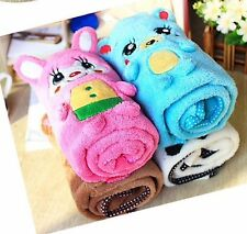 Pet Dog Towel Pink, Brown White or Blue With A Hood Cute Face Button Closure New
