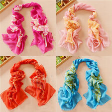 Women Chiffon Peony FLoral Long Soft Neck Scarf Shawl Scarves Stole Wrap new