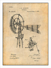 1889 Aldrich Antique Windmill Patent Print Art Drawing Poster 18X24