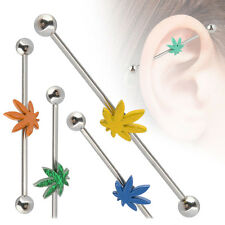 Surgical Steel Ear Cartilage Industrial 35mm Scaffold Barbell Painting Leaf 14G