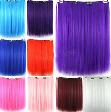 Hot Medium Straight Synthetic Colorful Hair Extension Clip in Hair Extensions 20