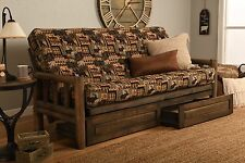 "Rustic Lodge ""Frame and Mattress"" Peters Cabin Fabric ""Includes Drawer set"""