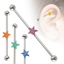 1PC Surgical Steel Ear Cartilage Industrial 35mm Scaffold Barbell Paint Star 14G