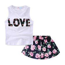 Outfit with love Baby girl clothes summer sleeveless Top + Shorts floral suit