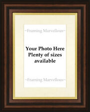New Mahogany Effect Gold Trim Photo Picture Frame Ivory Mount Choose size