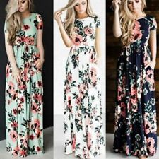Long Summer Beach Cocktail Dress Maxi Sleeve Party Evening Sundress Casual Women