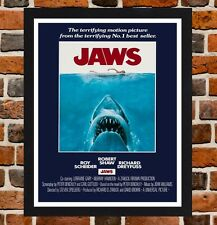 Framed Jaws Movie Poster A4 / A3 Size Mounted In Black / White Frame (Ref-7)