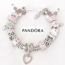 Authentic PANDORA Sterling Silver Bracelet w/ Pink Love & Heart European Charms