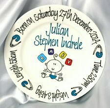 Baby Plate Hand Painted Personalised birth details Baby Blocks boy or girl