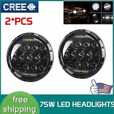 2Pcs 7inch 75W LED Headlight H4 H13 DRL HIGH LOW BEAM For JEEP JK Wrangler 07-17
