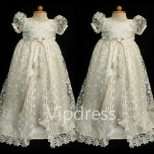 Christening Dresses Lace Applique Short Sleeve Toddler Kids Pageant Gowns +Bow