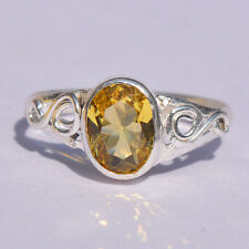 Engagement Ring Citrine Yellow Gemstone Sterling Silver plated Ring 4.8ct