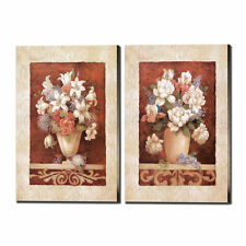2 Panels Vases and Flowers Oil Painting HD Print on Canvas Home Decor Wall Art