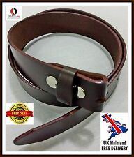 Men,s Genuine 100% Real Leather Belt Snap On Strap Without Buckle Belt Snap