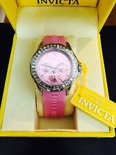 New Womens Invicta 22472 Angel Chronograph Crystal Pink Dial Pink Silicone Watch