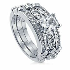 Sterling Silver Radiant Cubic Zirconia CZ Solitaire Engagement Wedding Stackabl