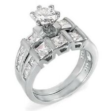 Sterling Silver Princess Cut Cz Ring Set with a 6MM Prong Set Round Cut Cz 111