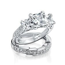 925 Sterling Silver Princess Cut CZ Wedding Engagement Ring Set