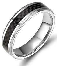 6mm Black Carbon Fiber Inlay Tungsten Ring Comfort Fit Engagement Wedding Band