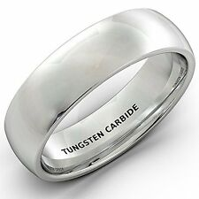 Mens Wedding Band 6mm White Polished Tungsten Ring Dome Comfort Fit