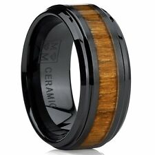 Black Ceramic Beveled Edge Wedding Ring Band with Real Koa Wood Inlay, 9MM Comf